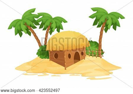 Beach Bungalow, Tiki Hut With Straw Roof, Bamboo And Wooden Details On Sand In Cartoon Style Isolate