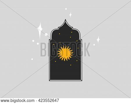 Hand Drawn Vector Abstract Stock Flat Graphic Illustration With Logo Element, Astrology Bohemian Mag