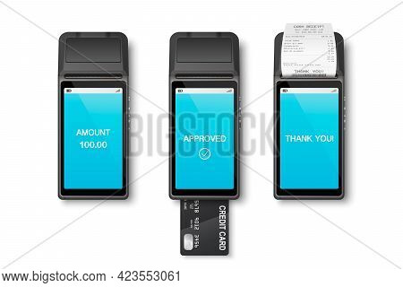 Vector 3d Realistic Payment Machine Set. Pos Terminal, Paper Receipt, Credit Card Isolated. Design T