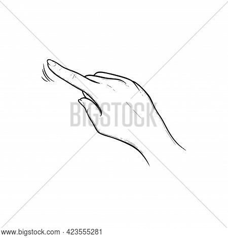 Index Finger Tapping On Touchscreen Or Sensor Device. Tap, Swipe Or Slide Finger Gestures For Device