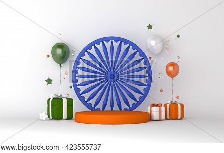 Happy Independence Day Of India Or Republic Day Display Podium Decoration Background With Balloon, A