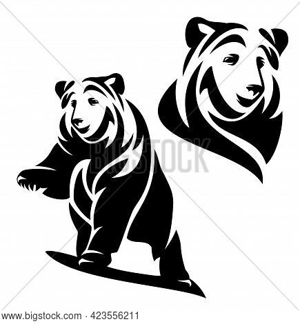 Standing Brown Bear With One Paw Up In The Air - Black And White Vector Outline Of Wild Animal
