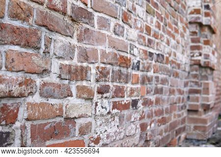 Ancient Brick Background, Old Wall With Ancient Brickwork, Selective Focus.