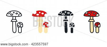 Fly Agaric Toadstool Icon. Linear Flat Color Icons Contour Shape Outline. Thin Line. Black Vector Si