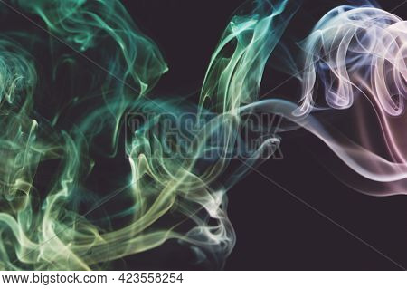 Green Smooth Colorful Smoke Waves