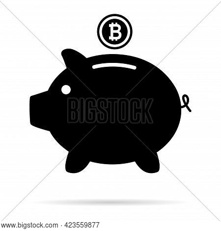 Piggy Bank Flat Icon, Sign Vector With Bitcoin Web Symbol. Money Income, Economic Graphic Button .