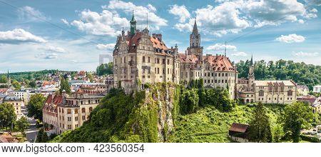 Panorama Of Sigmaringen Castle, Germany. Urban Landscape With German Castle, Landmark Of Baden-wurtt