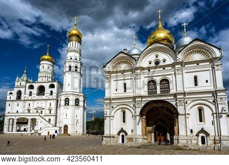 Archangel Cathedral And Ivan The Great Bell Tower At Moscow Kremlin, Russia. Panorama Of Cathedral S