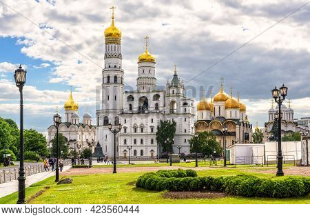 Moscow - June 2, 2021: Panorama Of Old Cathedrals Inside Moscow Kremlin, Russia. This Place Is Famou