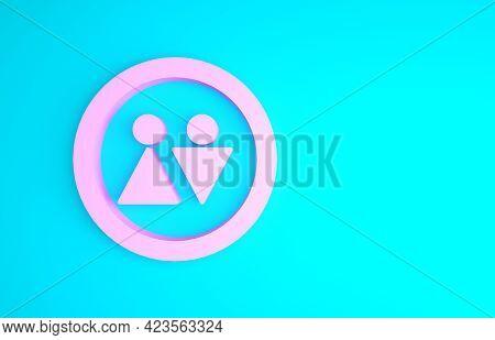 Pink Toilet Icon Isolated On Blue Background. Wc Sign. Washroom. Minimalism Concept. 3d Illustration