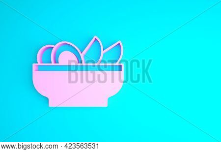 Pink Nachos In Plate Icon Isolated On Blue Background. Tortilla Chips Or Nachos Tortillas. Tradition
