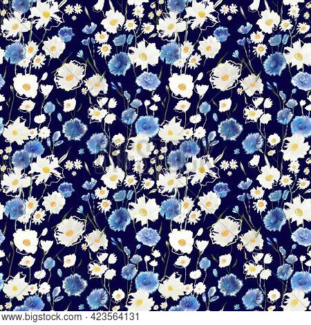 Simple Cute Pattern With Small Blue And White Flowers. Millefleurs. Liberty Style. Drawn Floral Seam