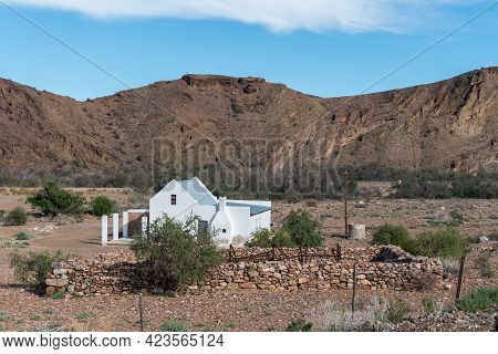 Witnekke Pass, South Africa - April 7, 2021: A Farm House And Livestock Enclosure Built From Rocks A