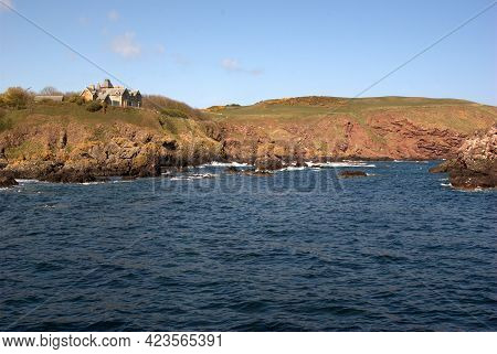 Cliffs And Coastal View At St. Abbs Bay In Berwickshire