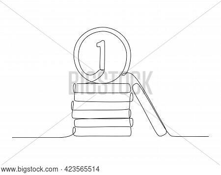 Money Coins In One Continuous Line Drawing. Penny Cents In Doodle Style. Vector Illustration