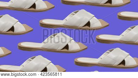 Elegant Fashionable Summer Flat Slide Sandals. Wide Quilted Strap Across The Front. Stylish Women's