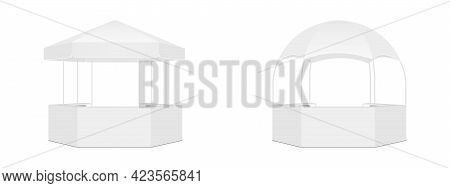 Hexagonal Dome Shaped Tents Isolated On White Background, Front View. Vector Illustration