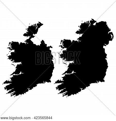 Map Of Ireland On White Background. Ireland Black Map. Irish Map.