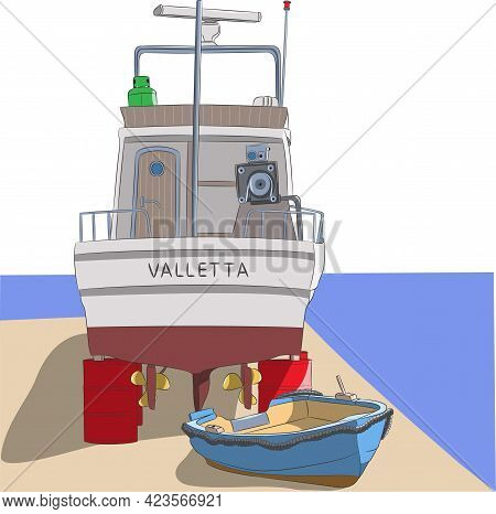 Malta. A Fishing Boat On Red Barrels Stands On The Shore.