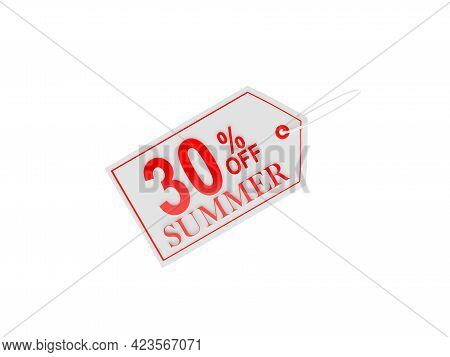 Thirty Percent Summer Discount Price Tag On White. 3d Illustration