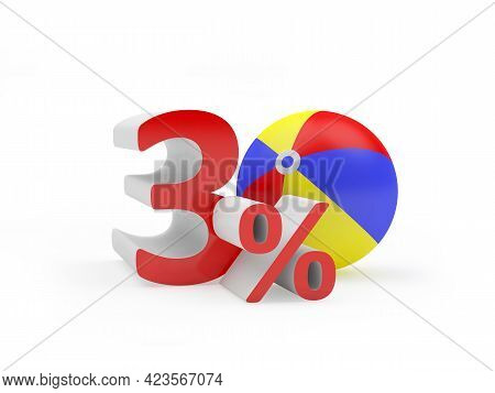 Thirty Percent Discount With Beach Ball Isolated On White. 3d Illustration