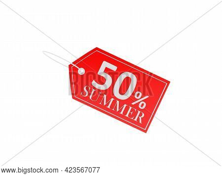 Red Price Tag With Fifty Percent Summer Discount On White. 3d Illustration
