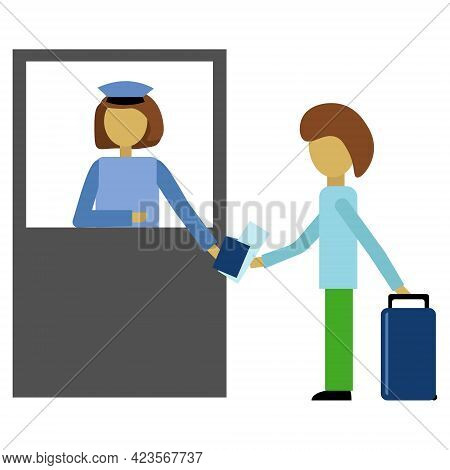 Customs Check Of Documents, Passport Check By Employee Concept, Passenger And Check-in At Check-in W