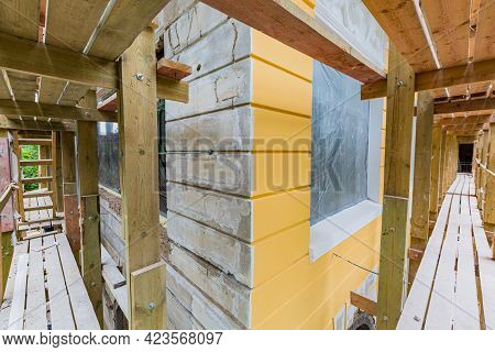 Wooden Platform For Plastering, Stuccoing And Painting And Painting Facade Building Is Under Constru