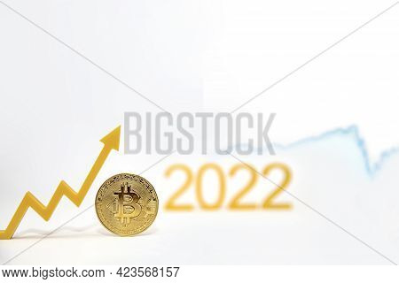 Bitcoin. Bitcoin Price In 2022. Popular Cryptocurrency Rate. The Bitcoin Coin On The Price Chart Is
