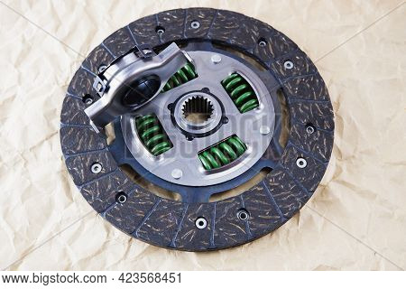Car Spare Parts. Car Clutch Disc And Clutch Bearing. Photo Of A Clutch Disc Before Installation On A