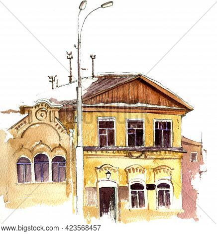 Watercolor Drawing Old Mansion, Sketch Of Town At White Background, Hand Drawn Illustration