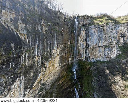 Aerial Panorama Of Skaklya Waterfall Near Village Of Zasele, Balkan Mountains, Bulgaria