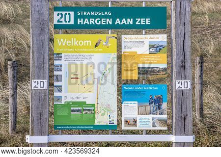 Hargen Aan Zee, North Holland, Netherlands. April 11, 2021. Information Signs: Name Of The Beach Har