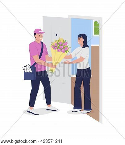 Sending Fresh Flowers Semi Flat Color Vector Character. Deliveryman Figure. Full Body People On Whit