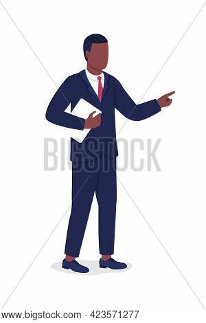 Manager Semi Flat Color Vector Character. Boss, Supervisor Figure. Full Body Person On White. Organi