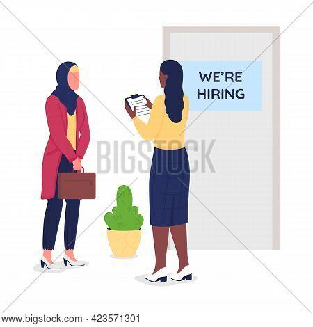 Muslim Girl Seek Employment Semi Flat Color Vector Character. Hiring Manager Figure. Full Body Peopl