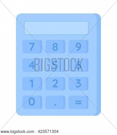 Calculator Semi Flat Color Vector Object. Arithmetic Operations Performance. Using Device For Mathem