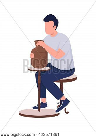 Man Making Pottery Semi Flat Color Vector Character. Boy In Gray T-shirt Figure. Full Body Person On