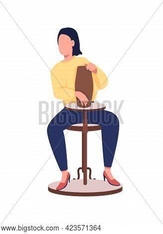 Woman In Pottery Class Semi Flat Color Vector Character. Young Lady Figure. Full Body Person On Whit