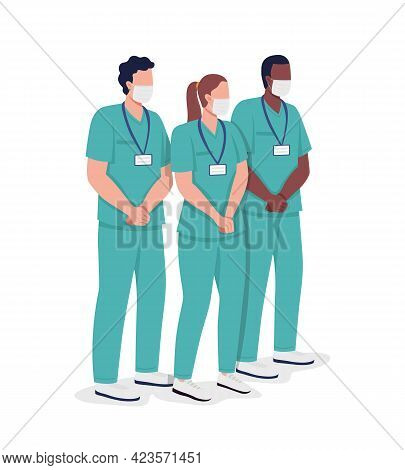 Nursing Group Semi Flat Color Vector Characters. Healthcare Givers Figures. Full Body People On Whit