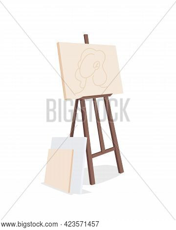 Easel With Canvas Painting Semi Flat Color Vector Object. Creating Picture. Art Material. Creative H