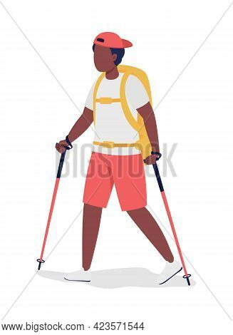 Boy With Backpack Hiking Semi Flat Color Vector Character. Trekker Figure. Full Body Person On White