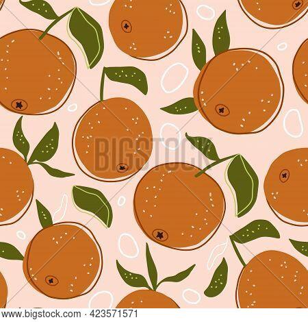 Cartoon Citrus Summer Orange Fruit Seamless Pattern Background. Cute Sweet Food Fresh Nature Kids Wa