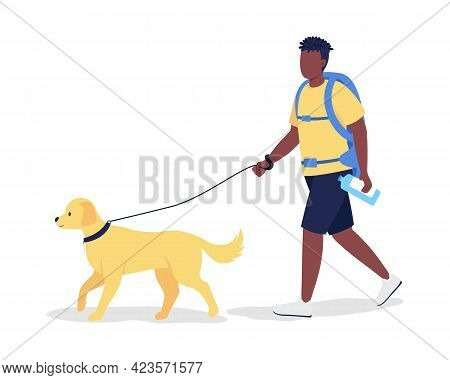 Man With Backpack And Labrador Semi Flat Color Vector Character. Trekker Figure. Full Body Person On