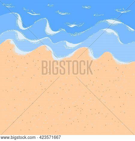 Sandy Ocean Shore For Wallpaper Design. White Foam Wave Sandy Seashore Top View.  Beach Sand Sea Wat