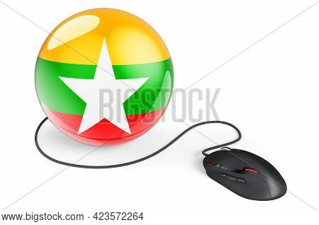 Computer Mouse With Myanmar Flag. Internet Network In Myanmar Concept. 3d Rendering Isolated On Whit