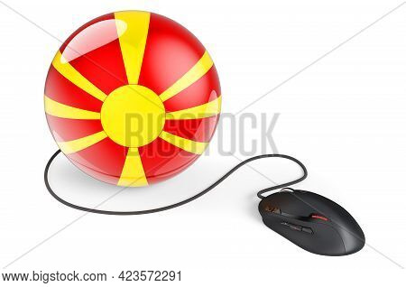 Computer Mouse With Macedonian Flag. Internet Network In Macedonia Concept. 3d Rendering Isolated On