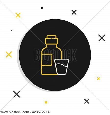 Line Bottle Of Medicine Syrup And Dose Measuring Cup Solid Icon Isolated On White Background. Colorf