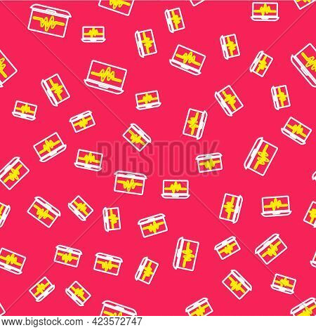 Line Laptop With Cardiogram Icon Isolated Seamless Pattern On Red Background. Monitoring Icon. Ecg M