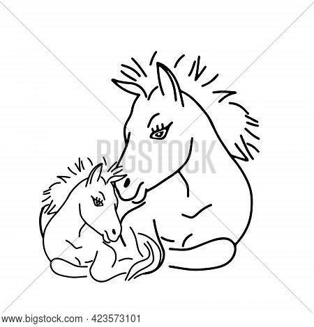 Black Outline Hand Drawing Vector Illustration Of A Horse And A Baby Horse Lying On A Grass Isolated